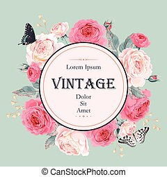 Card with roses and butterflies - Vector vintage card with...