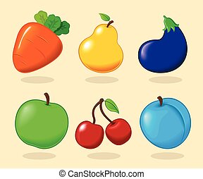 Vector illustration. Set of fruits and vegetables.