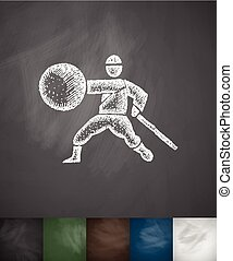 fighter icon. Hand drawn vector illustration. Chalkboard...
