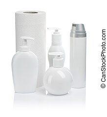 white towel and cosmetical accesories