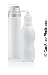 two white cosmetical bottles