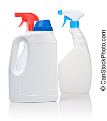 three whie bottle for cleaning