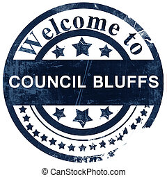 council bluffs stamp on white background