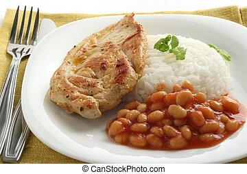 fritado, galinha, arroz, feijões