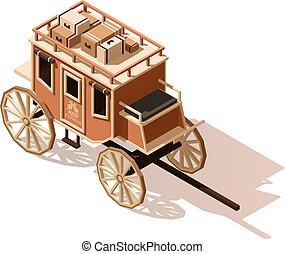 Vector isometric low poly stagecoach icon - Vector isometric...