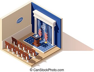 Vector isometric White House briefing room - Vector...