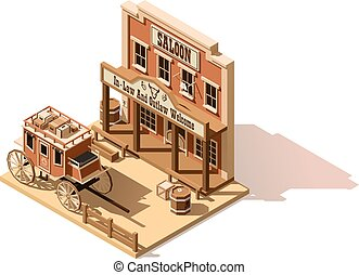 Vector isometric low poly wild west saloon - Vector...