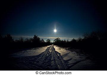 rural road in backlit