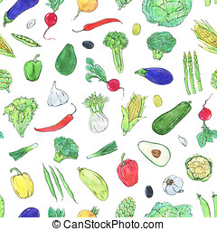 hand drawn watercolor seamless pattern with vegetables white...