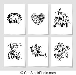 set of 6 hand written lettering positive inspirational quote...
