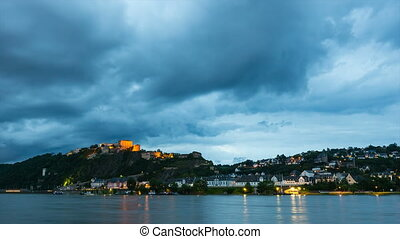 Koblenz Ehrenbreitstein At Night Time Lapse - Timelapse...