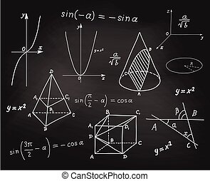 Mathematics - geometric shapes and expressions sketches on school board