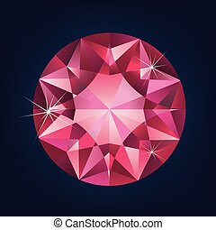 Brilliant shiny ruby on dark background.