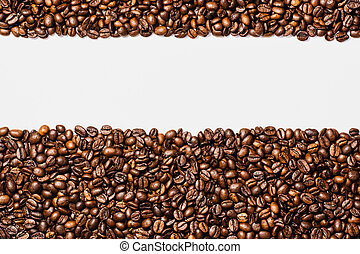 Coffee frame isolated on white background - Coffee beans...