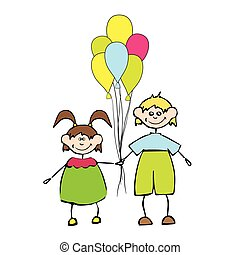 happy kids with balloon