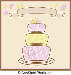 Tiered Wedding Cake With Love Vector Illustration