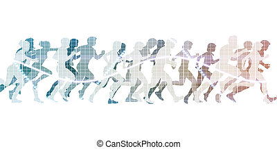 Running to the Finish Line with Crowd of People