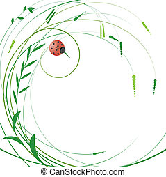Floral background with Ladybird Vector Illustration