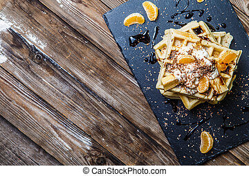 Belgian waffles with mandarin oranges - Breakfast with...