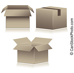 Brown Cardboard Shipping Boxes vector illustration