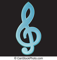 Treble clef.Vector Illustration