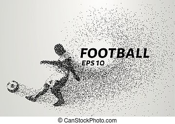 Football of the particles. Silhouette of a football player consists of points and circles. Vector illustration