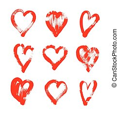 brush stroke sketch drawing of hearts shape set to...