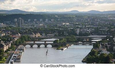 ponti,  Moselle, periodo,  oldtown,  Koblenz, tempo