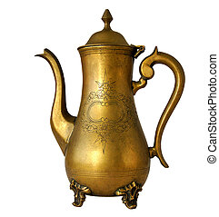 Antique brass coffeepot with a pattern isolated on white...