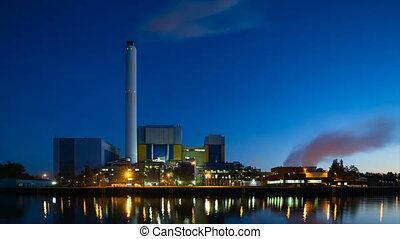 Waste Incineration Plant At Night Time Lapse - Evening...