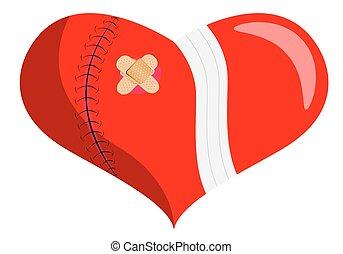 Healing a broken heart, vector art illustration of...