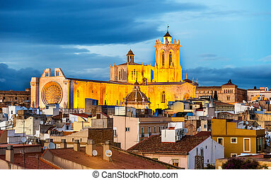 Cathedral of Tarragona in the evening. Catalonia, Spain -...