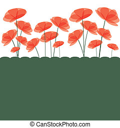 Branch of red flowers. vector