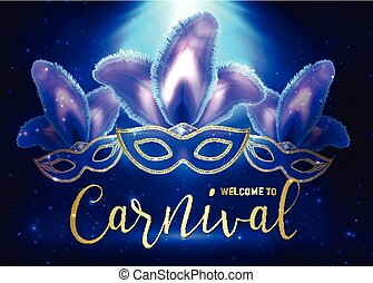Vector illustration of cartoon carnival background with...