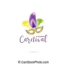 Vector illustration of carnival card with mask and text sign...