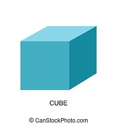 3d shape-cube vector - image of 3d shape for kid isolated on...