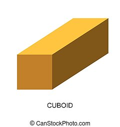 3d shape-cuboid vector - image of 3d shape for kid isolated...
