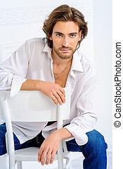 attractive man - Handsome sexy man wearing white shirt...