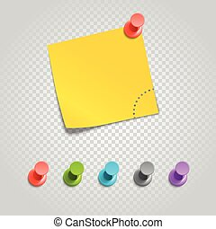 Color pins and paperclip isolated on transparent. Different...