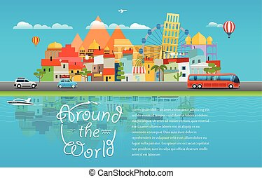 Around the world travelling concept. Template for a text