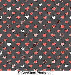 Different abstract hearts pattern. Valentines greeting card...