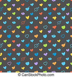 Different abstract hearts pattern. Valentines greeting card layout