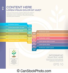 Modern graph design or infographic design template for business research data presentation in vector illustration in green ecology theme