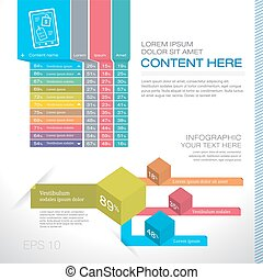 Modern graph design or infographic design template for business research data presentation in vector illustration