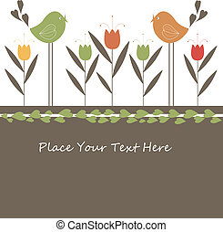 Cartoon card with birds - Cartoon congratulatory card with...