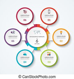 Infographic diagram with 6 options. Vector template what can be used as circular chart, numbered banner, workflow layout, graph, report, presentation, web design.