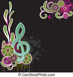 Background with Treble clef.Vector Illustration