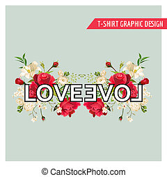 Vintage Floral Graphic Design. Summer Roses and Lily Flowers...