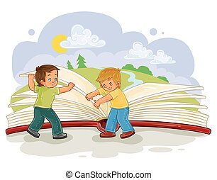 Little boys turn pages great book - Vector illustration of...