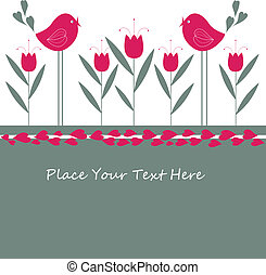 Cartoon congratulatory card with birds .vector illustration